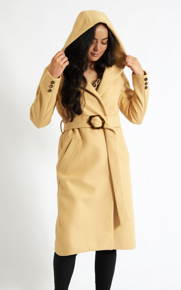 Long Buckled Coat with Hood Camel