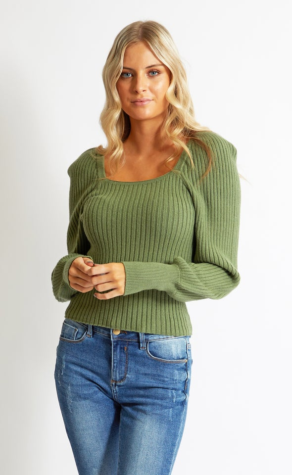 Long Sleeve Square Neck Sweater