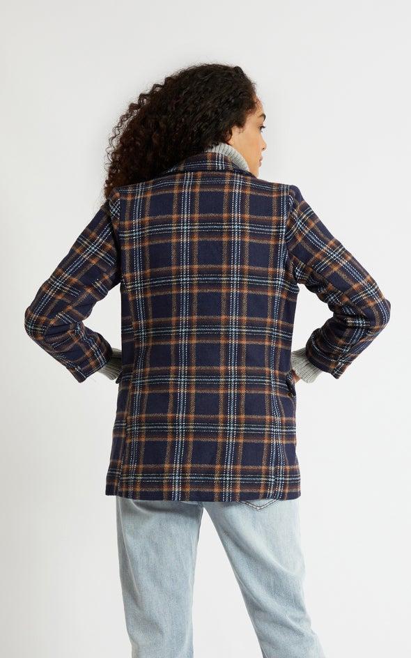 Longline Check Jacket Blue/tan Check