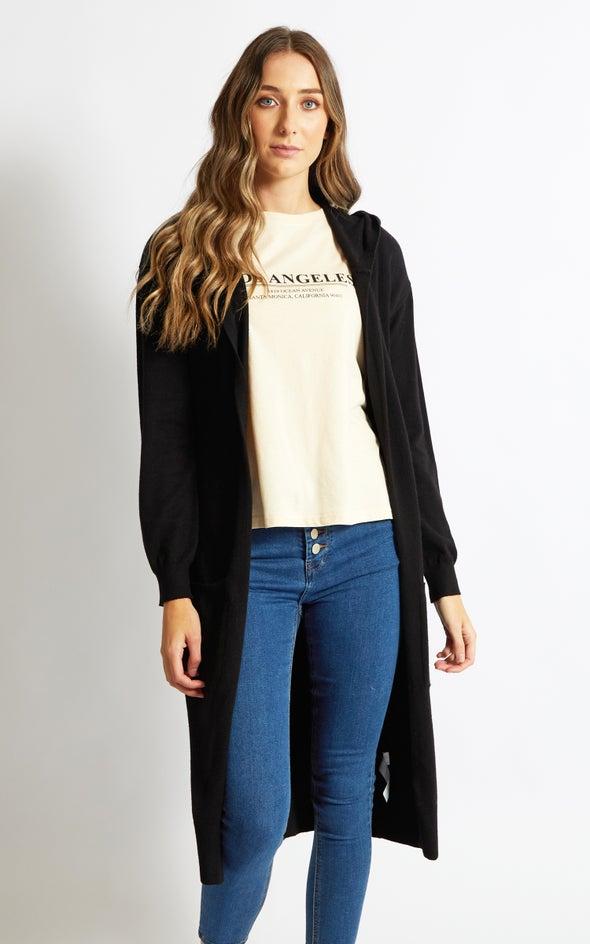 Longline Hooded Cardi Black