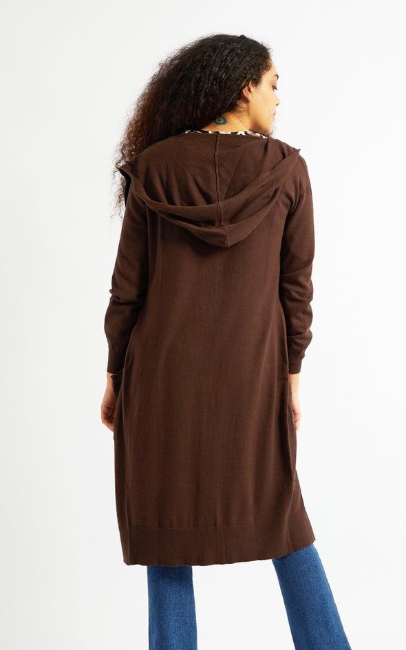 Longline Hooded Cardi Cocoa