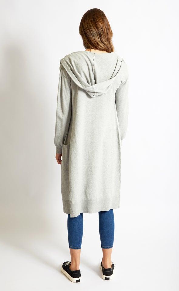 Longline Hooded Cardi Grey Marle