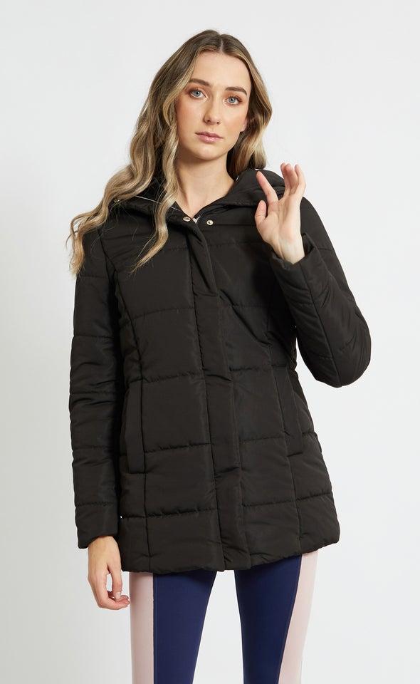 Longline Hooded Puffer Jacket Black