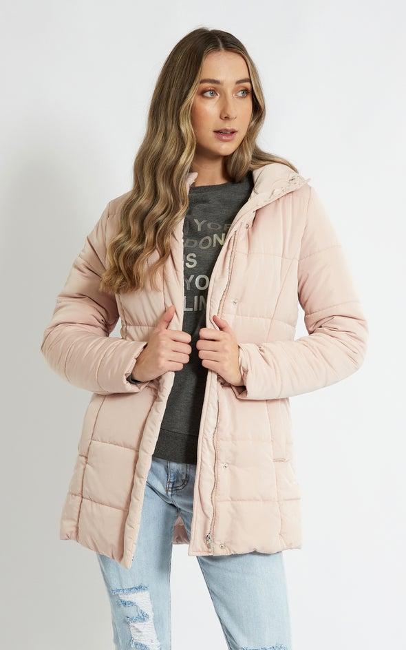 Longline Hooded Puffer Jacket Blush