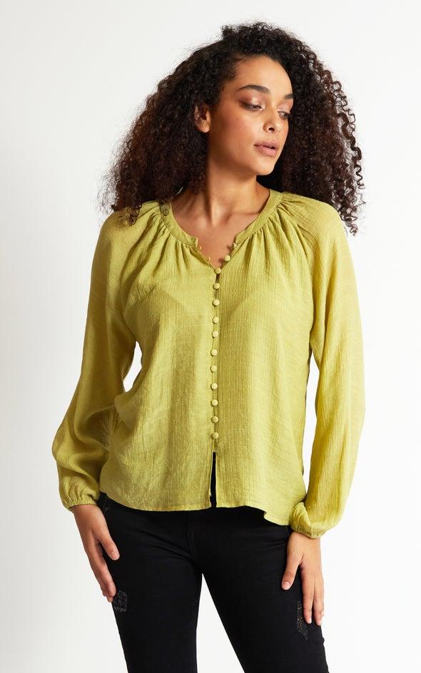 Loop Button Shirt Honeydew