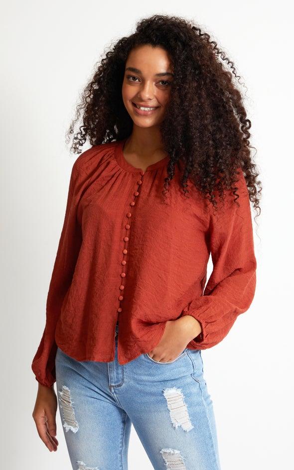 Loop Button Shirt Terracotta