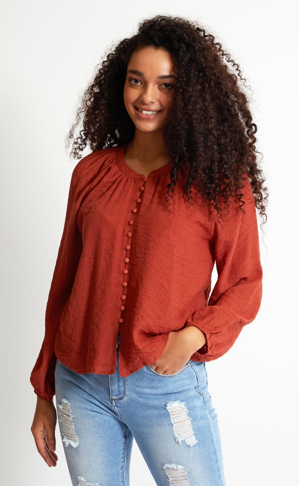 Loop Button Shirt Terracotta