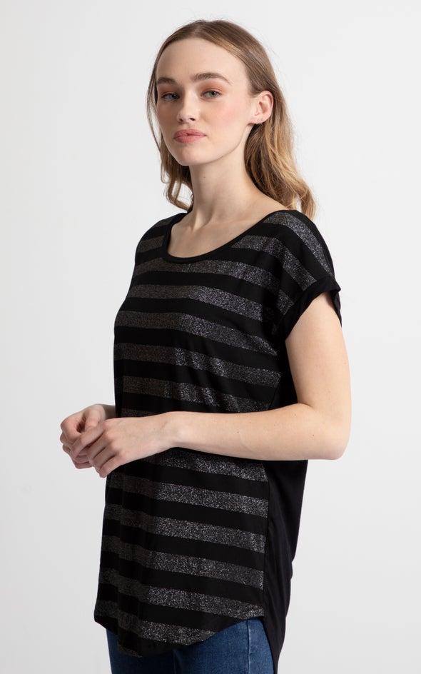 Lurex Stripe Tee Black
