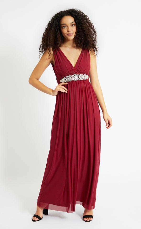 Mesh Embellished Waist Gown Maroon