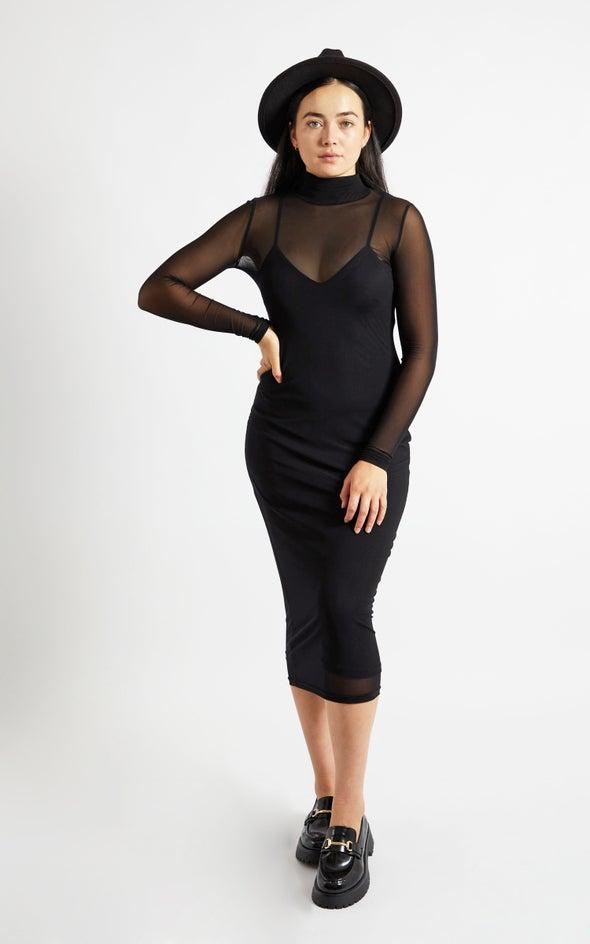 Mesh High Neck LS Dress Black
