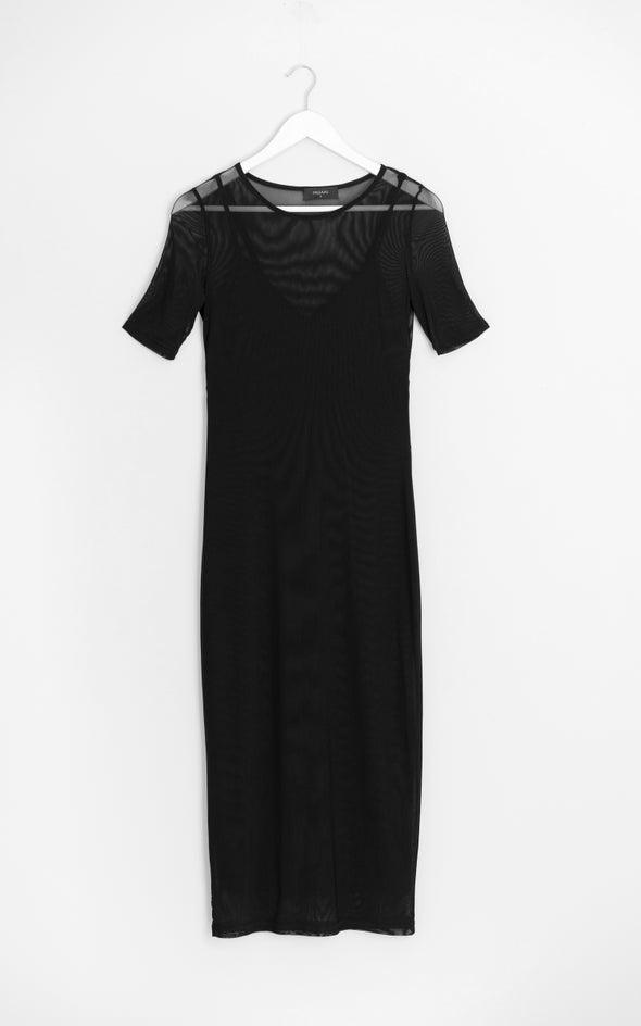 Mesh Short Sleeve Midi Dress Black