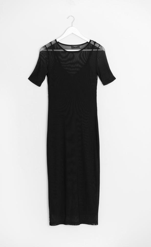 Mesh Short Sleeve Midi Dress