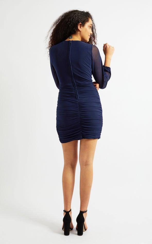 Mesh Twist Front Ruched Dress Navy