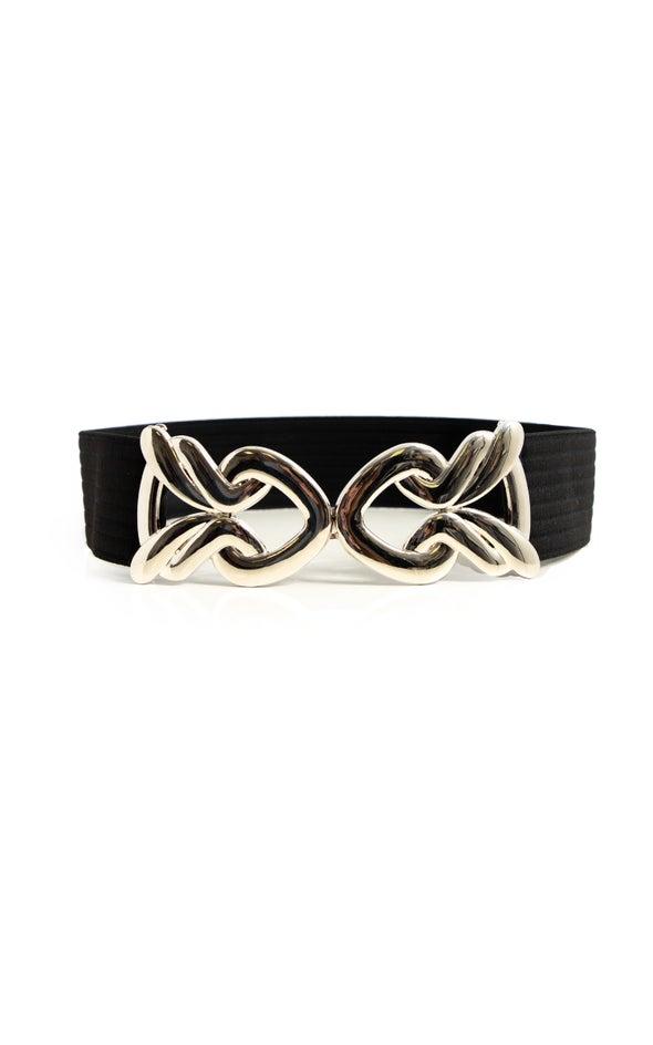 Metal Clasp Elastic Belt Silver/black