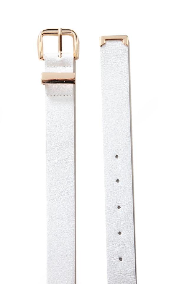 Metal Tip Jean Belt Gold/white