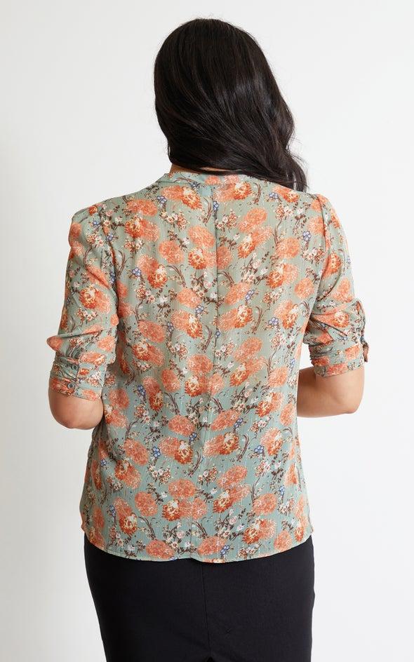 Metallic Thread Cuffed Sleeve Shirt Burnt Orange Print