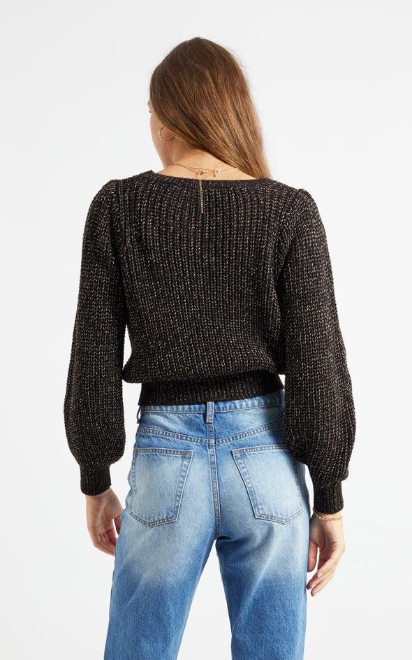 Metallic Thread Sweater Black
