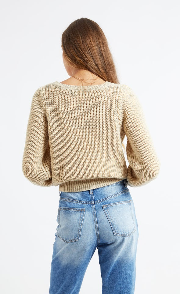 Metallic Thread Sweater Cream