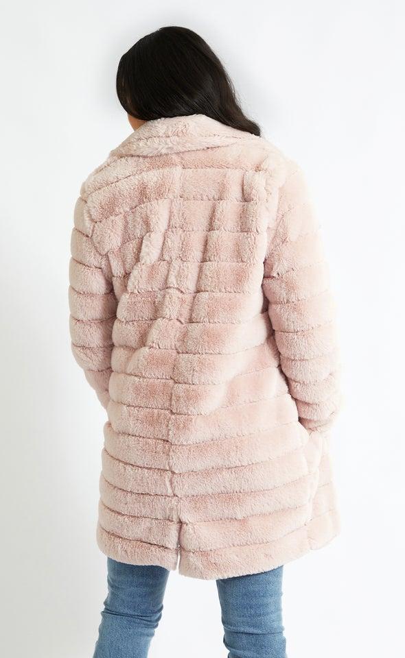 Mid Length Faux Fur Coat Blush