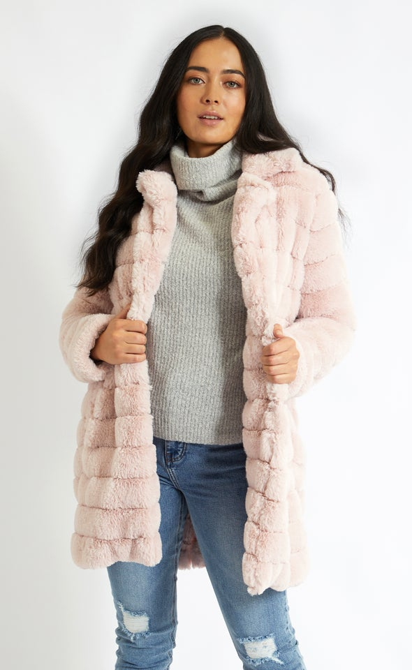 Mid Length Faux Fur Coat