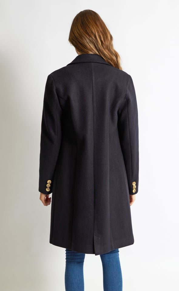 Mid Length Tailored Coat Ink