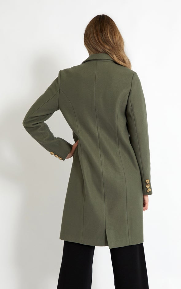 Mid Length Tailored Coat Olive