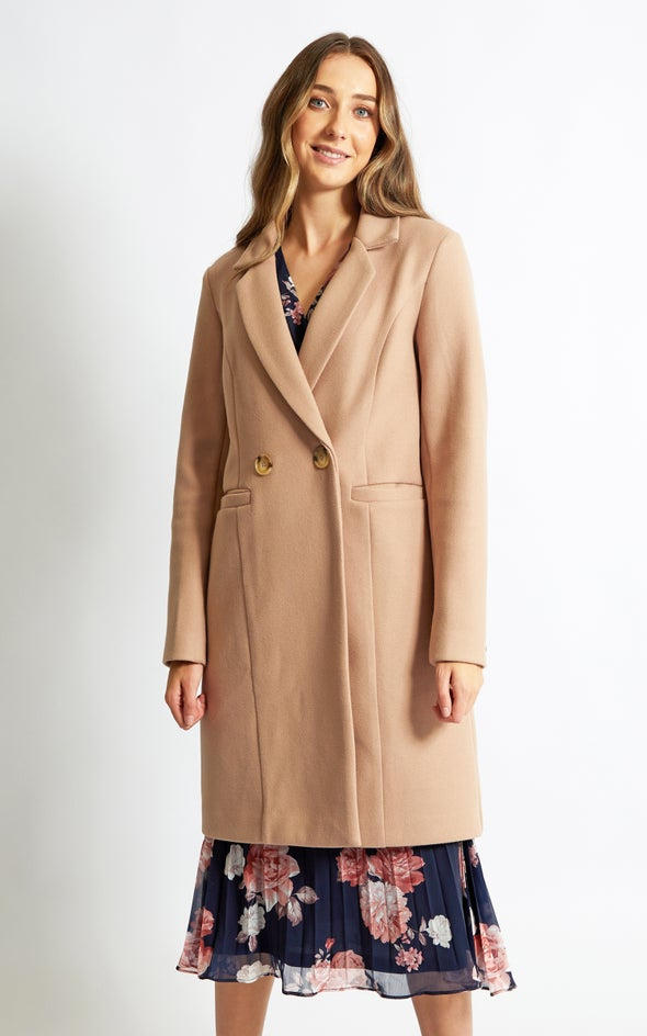 Mid Length Tailored Coat Rose