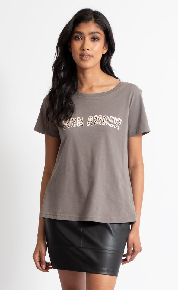 Mon Amour Leopard Print Tee Charcoal