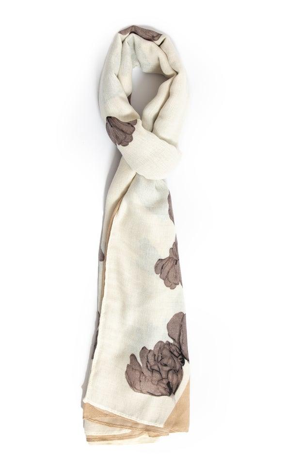 Neutral Floral Scarf Cream/brown