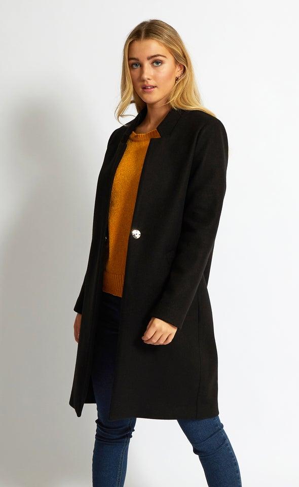 Notch Collar Check Coat Black