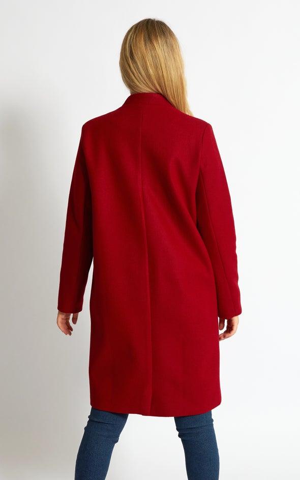 Notch Collar Check Coat Raspberry