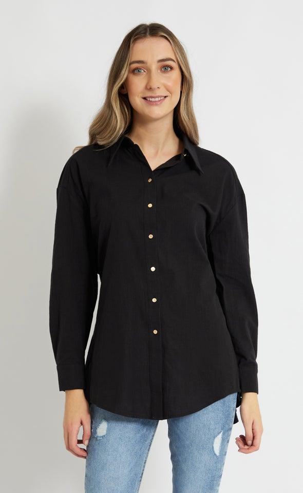 Open Back Detail Shirt Black