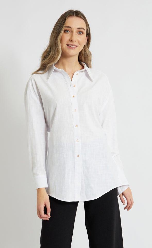 Open Back Detail Shirt White