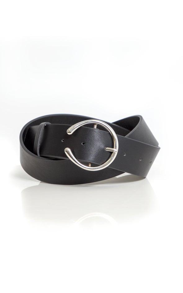 Open End Buckle Belt Silver/black