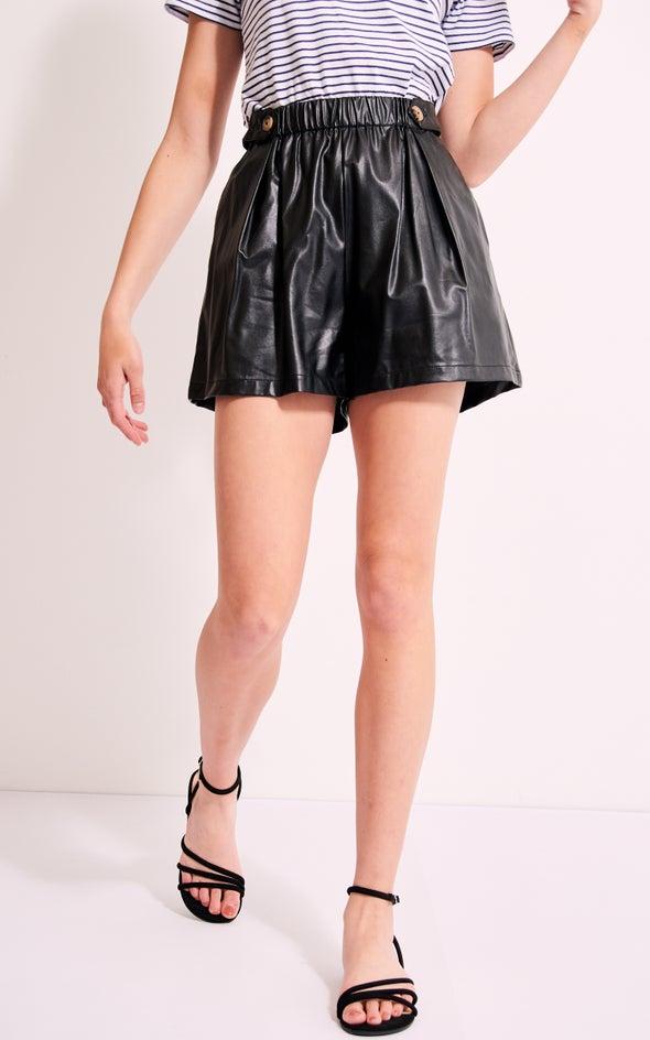 Paperbag Waist PU Short Black