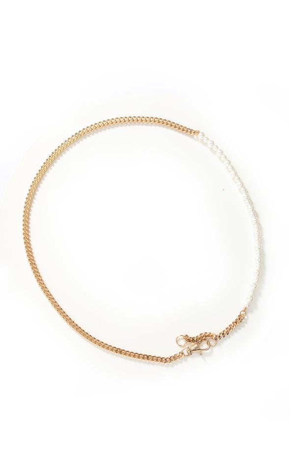Pearl Chain Belt Gold/cream
