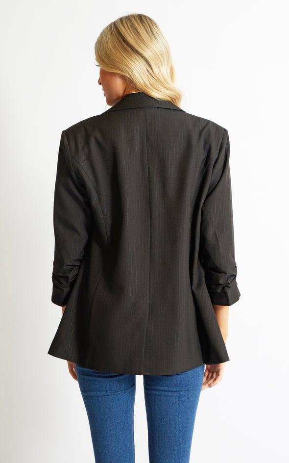 Pinstripe Blazer Black