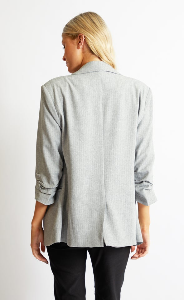 Pinstripe Blazer Black/white
