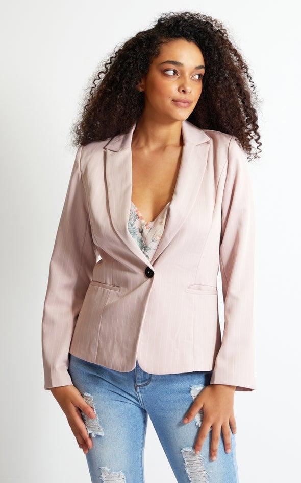 Pinstripe French Blazer Blush
