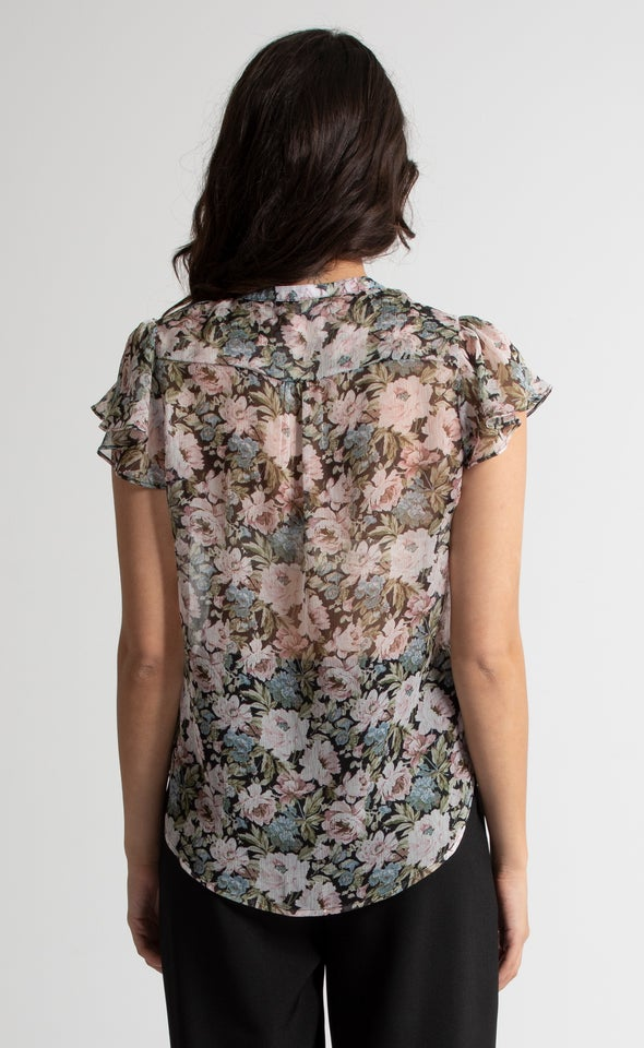 Pintuck Cap Sleeve Shirt Blk Floral