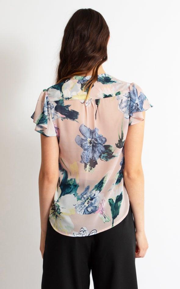 Pintuck Cap Sleeve Shirt Blush Print