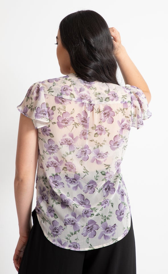 Pintuck Cap Sleeve Shirt Lilac Floral