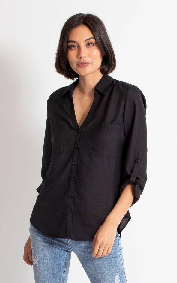 Pleat Pocket Shirt Black