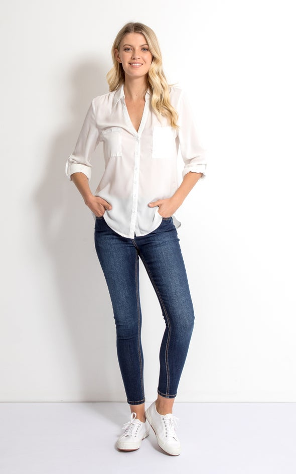 Pleat Pocket Shirt White
