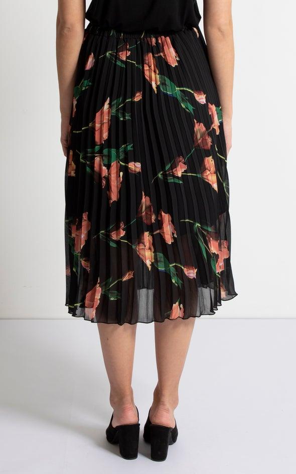 Pleated CDC Skirt Blk/peach