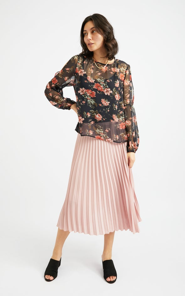 Pleated CDC Skirt Blush