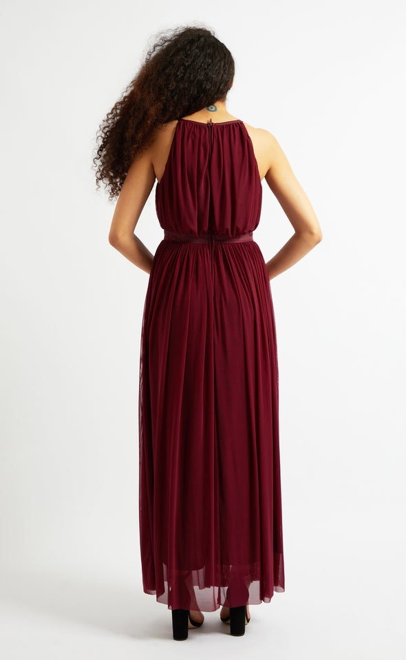 Pleated Mesh Cutaway Gown Maroon