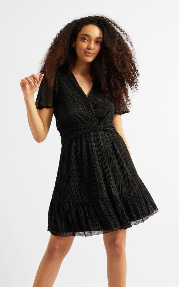 Plisse Flutter Sleeve Wrap Dress Black