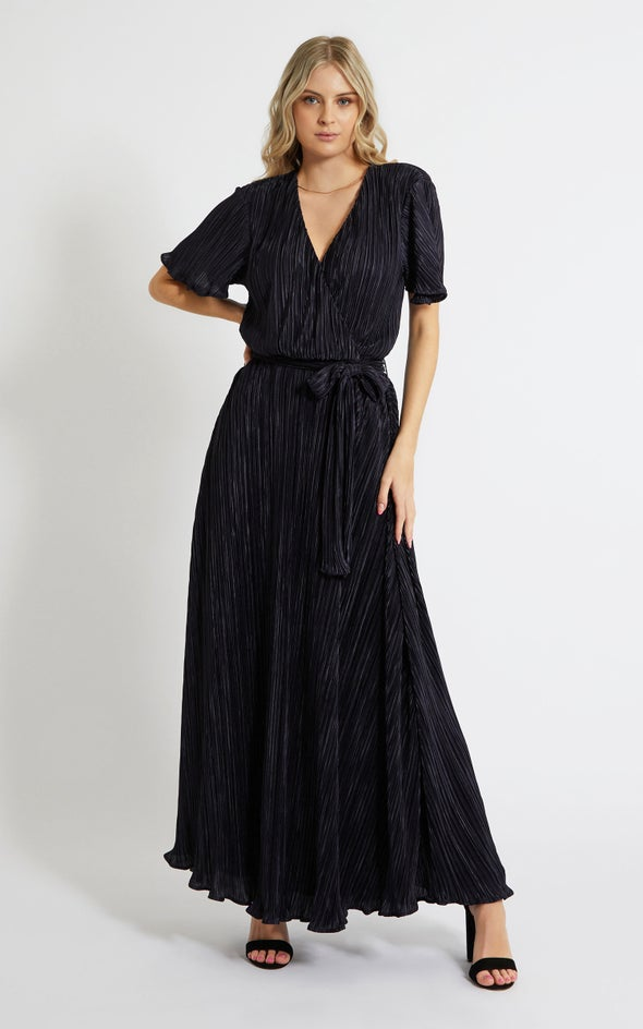 Plisse Flutter Sleeve Wrap Gown Navy