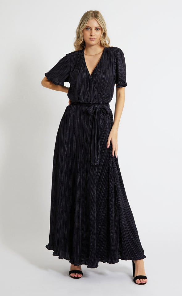 Plisse Flutter Sleeve Wrap Gown